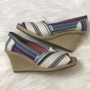 Toms Stella striped peeptoe wedges